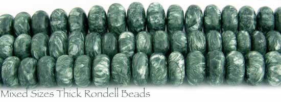Mixed Sizes Thick Rondell Seraphinite Beads