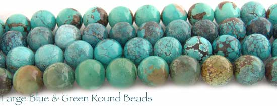 Blue & Green Round Turquoise Beads