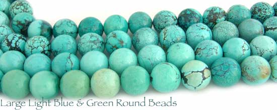 Light Blue & Green Round Turquoise Beads