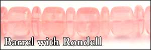 Rose Quartz Barrel with Rondell Beads